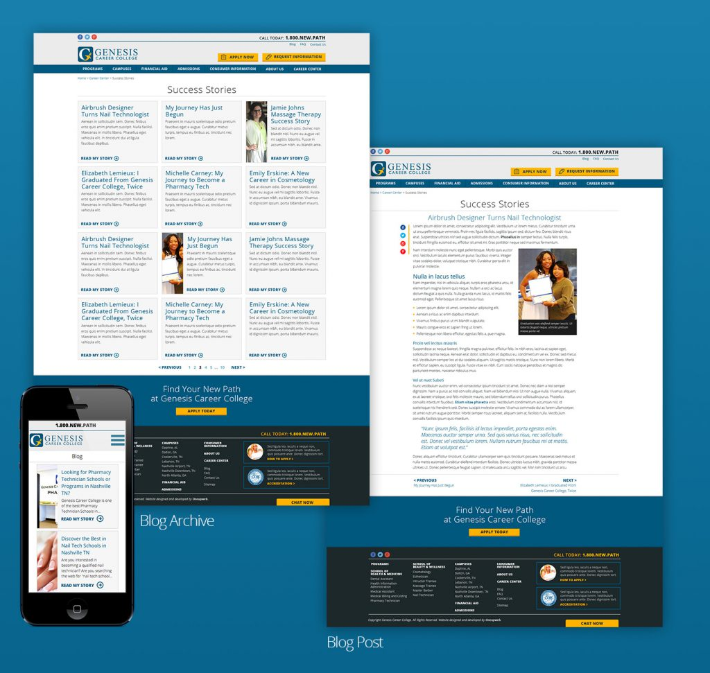 Phone example of the website and text heavy webpages