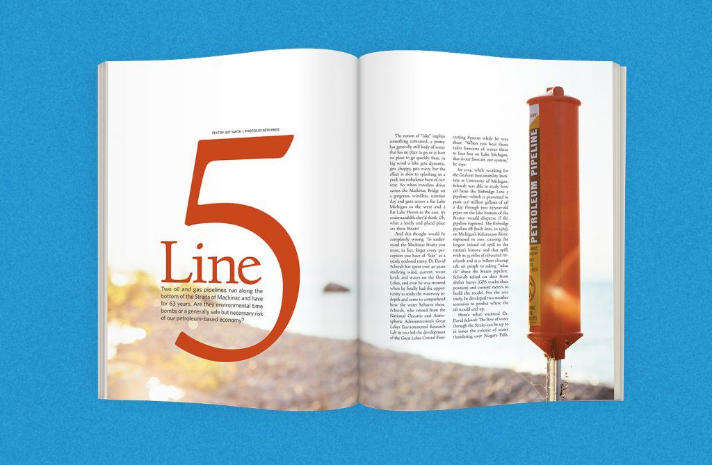 Oil Pipeline Article for Traverse Magazine - opening spread